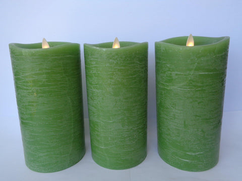 "7"" Rustic Sage Flameless Candle Lot - Damaged"