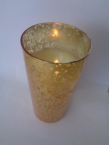 "8"" Gold Mercury Glass Cylinder - Defective"