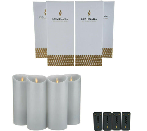 "(4) 9"" Grey Flameless Candles w/ Remotes"