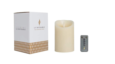 "Luminara 3.5""x 5"" Classic Flameless Candle - Ivory + New Remote"