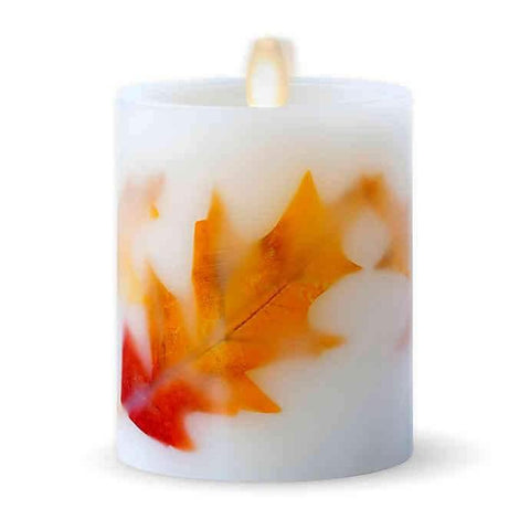 Luminara® Fall Leaves Real-Flame Effect 4.5-Inch Pillar Candle in Ivory