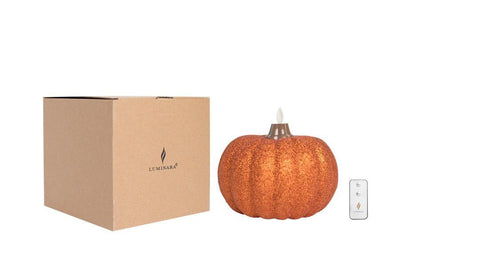 Luminara Pumpkin Glitter Candle - Small Orange + Remote