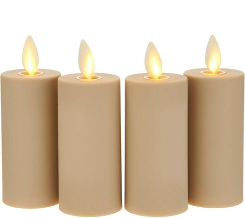 Luminara Flameless Votive 4-Piece Set - Sand w/ Remote