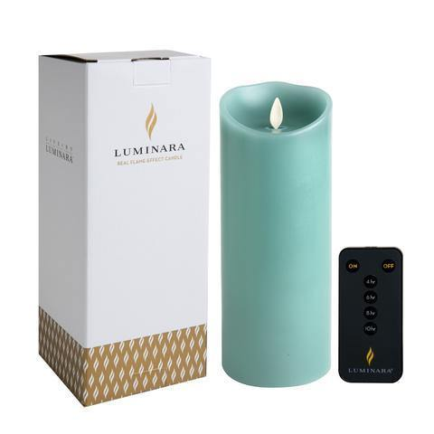 "Luminara 3.5""x 9"" Real-Flame Effect Candle - SEA GLASS + Remote - The Flameless Candle Shop"