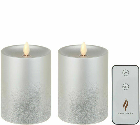 "Luminara Flameless Candle Set: 5"" Silver Glitter Ombre w/ Remote"