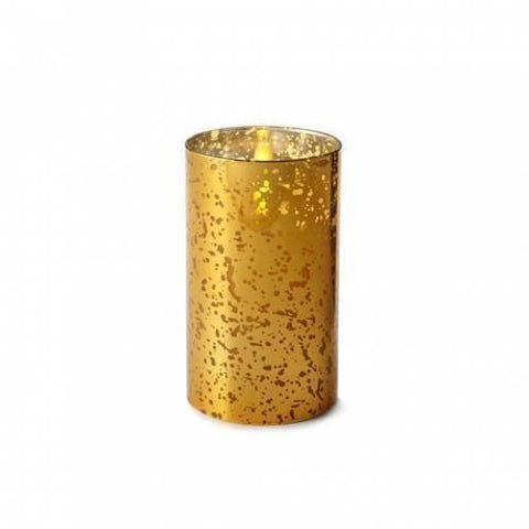 "Luminara 6"" Gold Mercury Glass Cylinder Candle - Unscented"