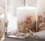 "Luminara 5"" Seashell Embedded Flameless Candle"