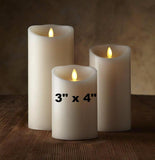 "Luminara 3""x 4"" Real-Flame Effect Candle - IVORY - The Flameless Candle Shop"