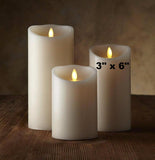 "Luminara 3""x 6"" Real-Flame Effect Candle - IVORY - The Flameless Candle Shop"