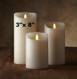 "Luminara Classic 3""x 8"" Flameless Candle - Ivory Vanilla Scented"