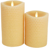 "Luminara 7"" Yellow Beeswax Textured Flameless Candle - Unscented"