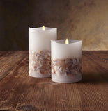 "Luminara 7"" Seashell Embedded Flameless Candle - Unscented"