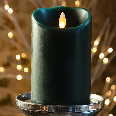 "Luminara 3"" x 4"" Real-Flame Effect Candle - HUNTER GREEN - The Flameless Candle Shop"