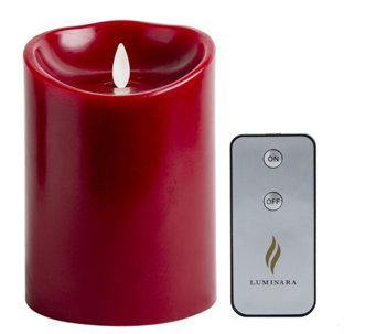 "Luminara 4"" x 5"" Flameless Burgundy Wax Candle & Remote"