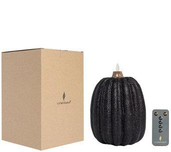 Luminara Pumpkin Glitter Candle - Large Black + Remote