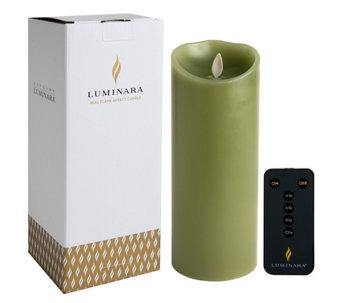 "Luminara 3.5""x 9"" Real-Flame Effect Candle - SAGE GREEN + Remote - The Flameless Candle Shop"