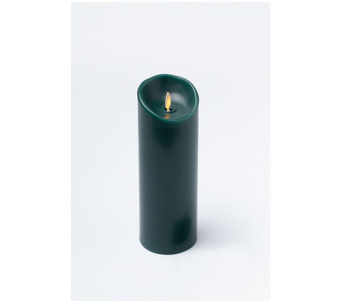 "Luminara 3"" x 8"" Real-Flame Effect Candle - HUNTER GREEN - The Flameless Candle Shop"