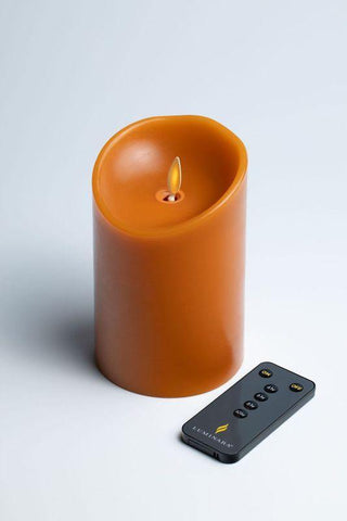 "Luminara 3"" x 4"" Real-Flame Effect Candle - RUST + Remote - The Flameless Candle Shop"
