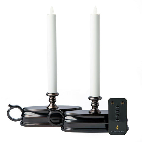 Luminara Set of (2) Colonial Window Candles BRONZE + Remote