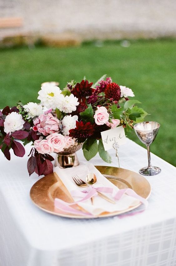 Marsala and blush wedding centerpiece