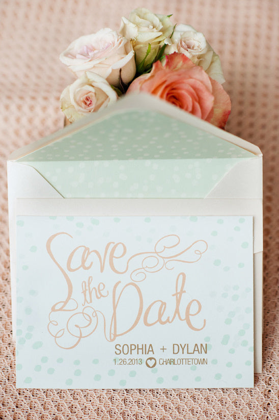 Peach and mint themed wedding invitation
