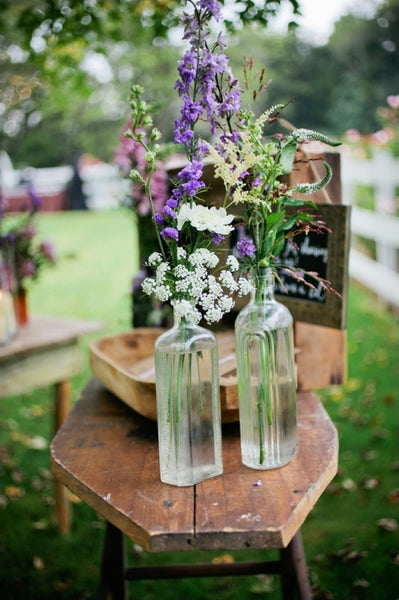 Lavender wedding vases with flowers