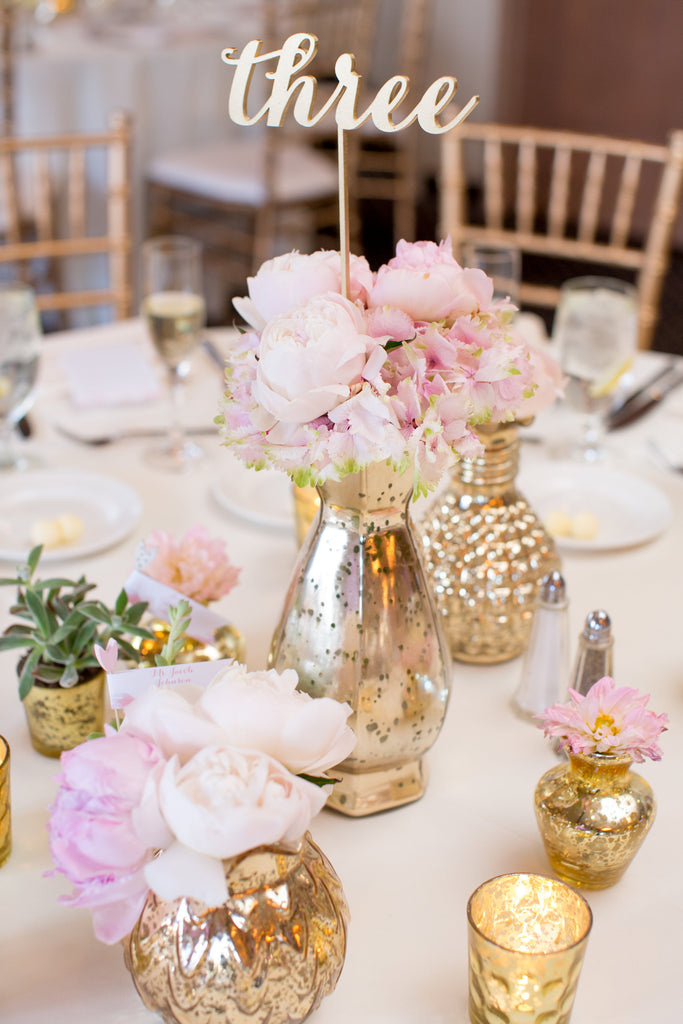 Gold and pink blush wedding centerpieces