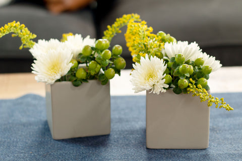 Side-by-side DIY Flower Arrangements