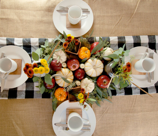 Modern farmhouse table runner made with gingham flannel fabric