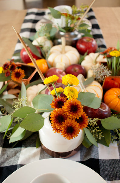 Fall Table Decor with Floral Accents and Eucalyptus Leaves