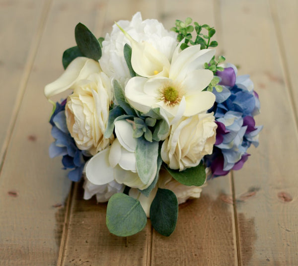 Marmalade Floral Spring Silk Wedding Bouquet with Blue Hydrangea, Calla Lilies, Magnolias, Ranunculus, and Peony in Cream