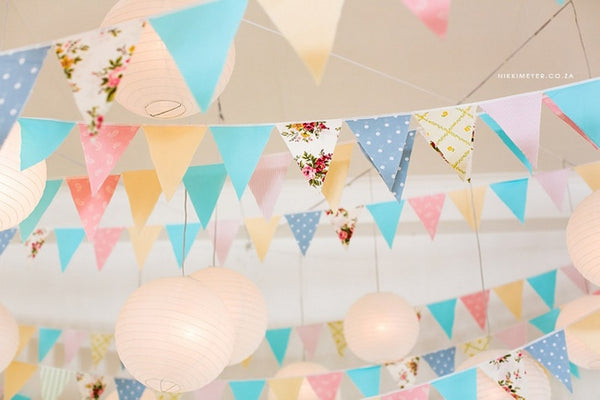 Pastel wedding flag decor
