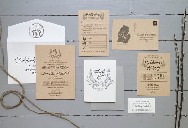 Rustic neutral wedding invitations