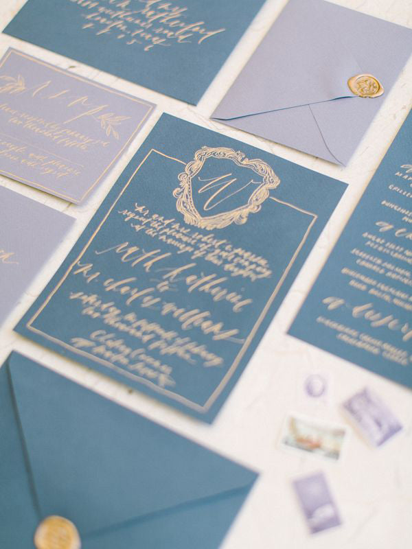 French blue wedding invitations