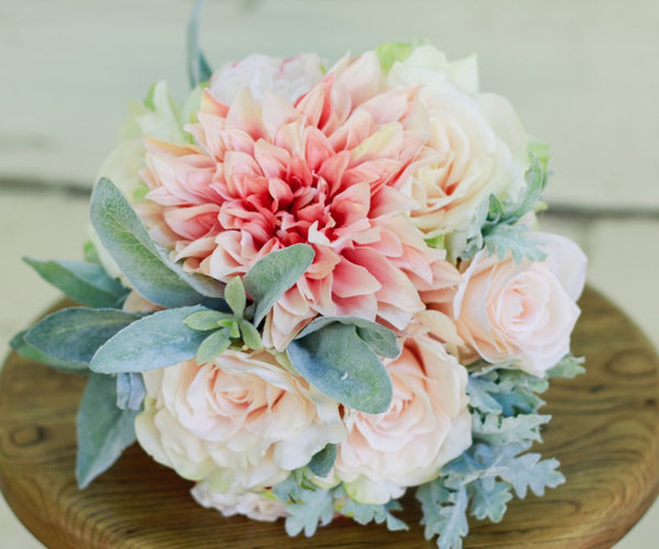 Silk Blush Pink Winter Wedding Bouquet Sage and Dahlia - Silk Bouquet