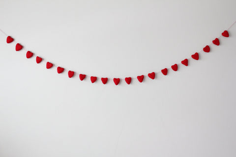 Heart shaped felt garlands on string