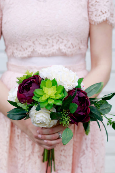 Marmalade Floral Accents Spring Silk Wedding Bouquet in Plum and Cream with Succulent Hydrangea Ranunculus and Rose