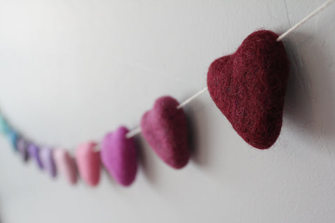 Heart=shaped felt garlands on string
