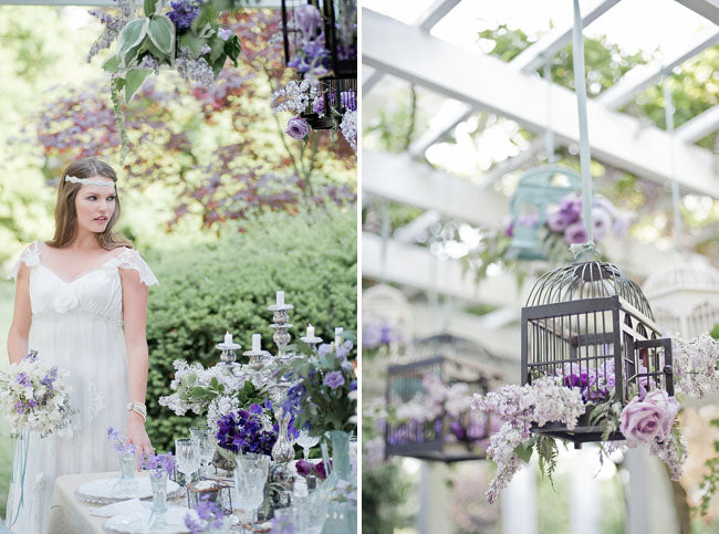 Lavender garden wedding birdcage decor
