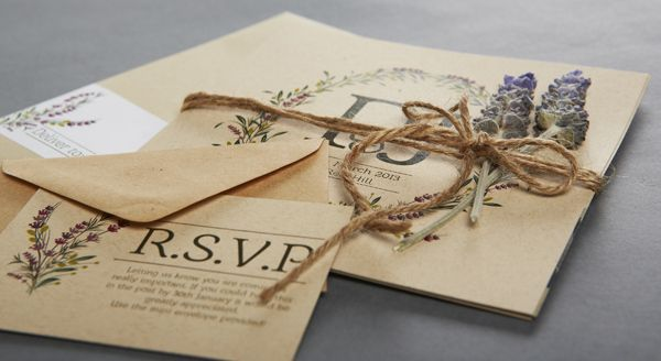 Wedding invitations with lavender floral accents