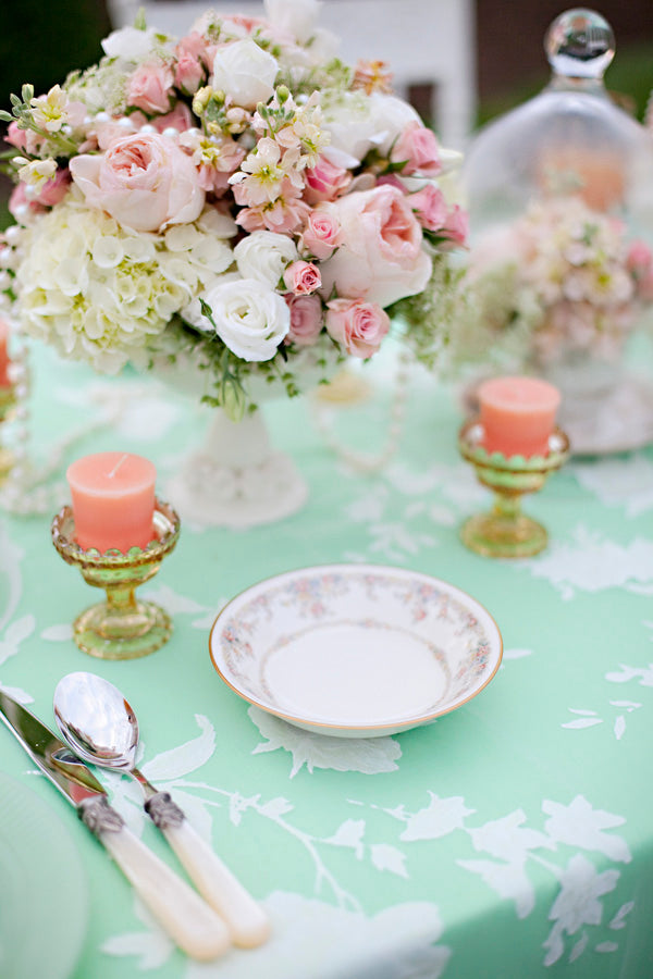 Peach and mint wedding centerpieces