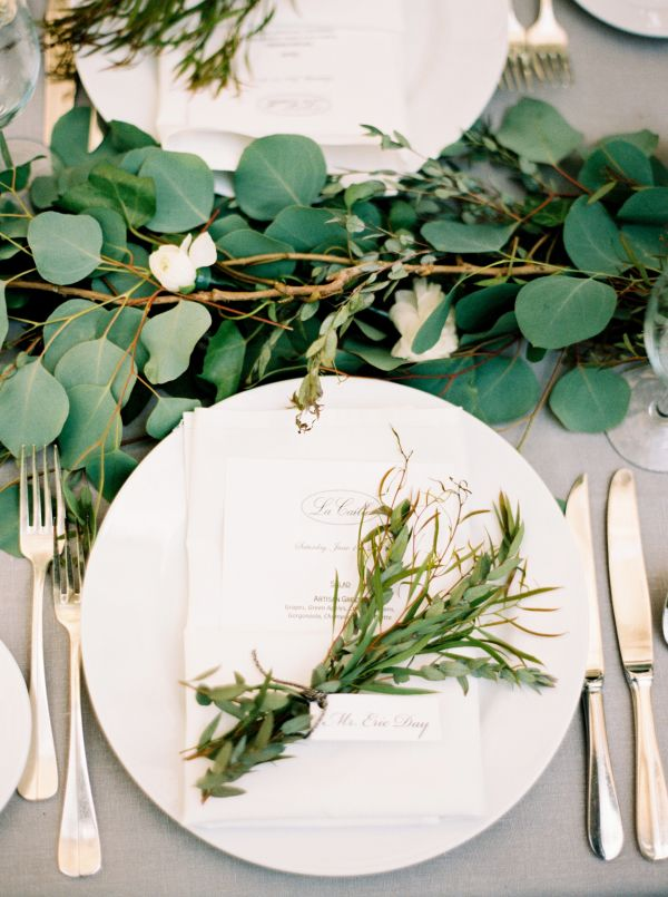 Green spring table centerpiece for wedding