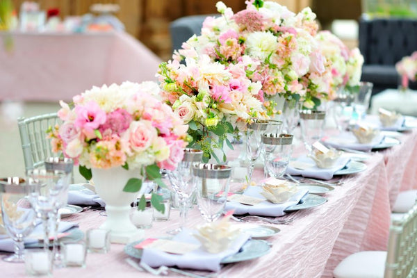 Romantic pastel centerpieces