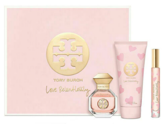 Tory Burch Love Relentlessly for Women 3-Piece Set: 3.4 oz Eau de Parfum Spray, .2 oz Rollerball, 6.7 oz Body Lotion