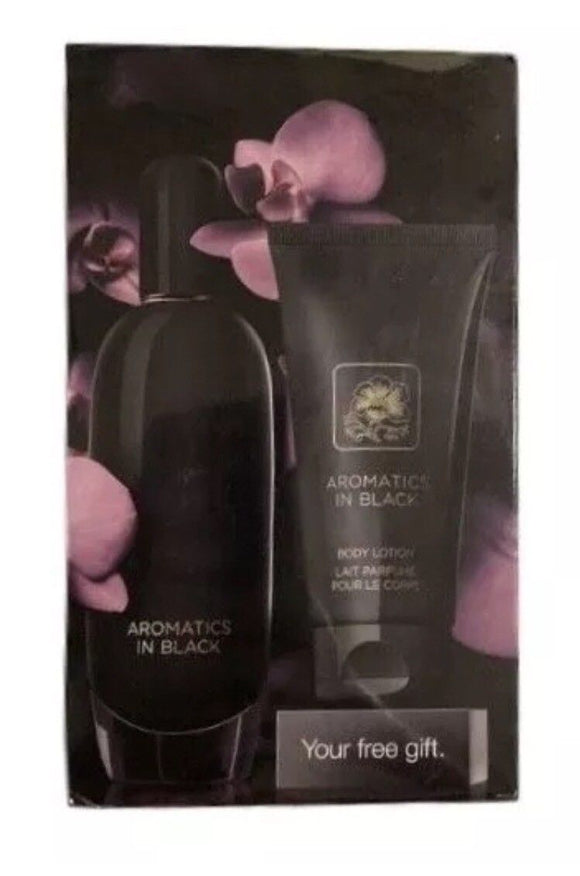 Aromatics In Black by Clinique for Women 2 Piece Set: 3.4 oz Eau de Parfum and 2.5 oz Body Lotion - FragranceAndBeauty.com