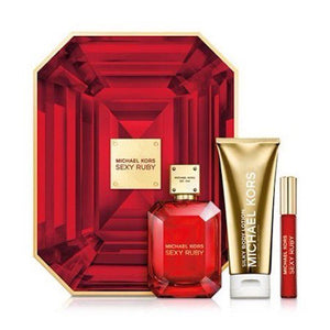 Michael Kors Sexy Ruby Women 3-Piece Set, 3.4 EDP + .34 Rollerball + 3.4 Body Lotion - FragranceAndBeauty.com