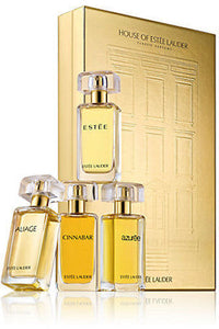 House of Estee Lauder Classic Parfums 4-Piece Set: 1.7 oz Estee, Aliage, Cinnabar & Azuree - FragranceAndBeauty.com