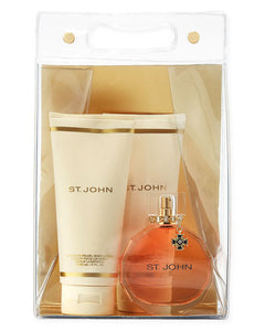 St. John Signature Women 4-Piece Set: 3.4 oz EDP + 6 oz Lotion + 6 oz Gel + Bag - FragranceAndBeauty.com