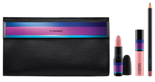 MAC 4-Piece Set Enchanted Evening Lip Bag Nude - Lipstick, Lipglass, Lip Liner & Bag - FragranceAndBeauty.com