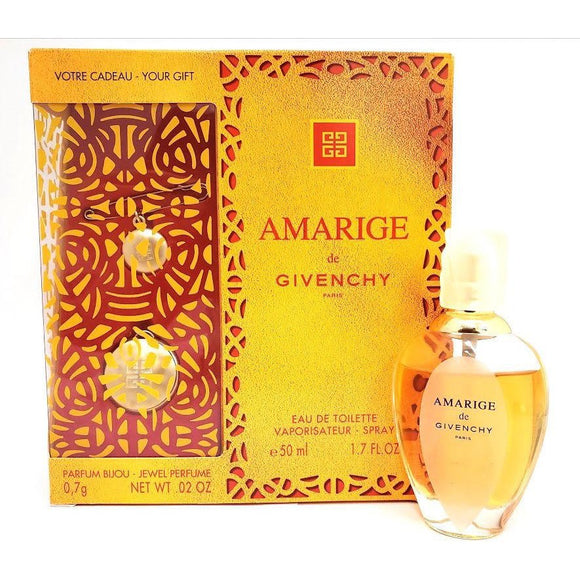 Amarige Givenchy Women 2 Piece Set: 1.7 oz EDT Low Fill + Solid Perfume Brooch Pendant - FragranceAndBeauty.com